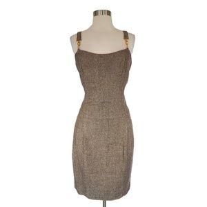 Vertigo Paris Brown Metallic Tweed Suspender Dress